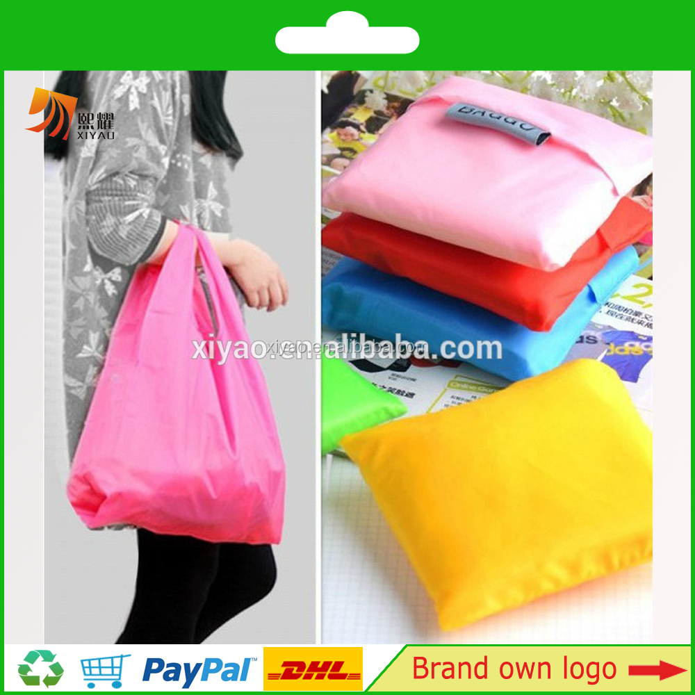 Polyester Reusable Grocery Shopping Bag Ripstop Nylon Tote Integrated Foldable Pouch