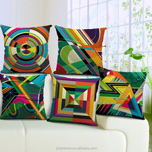 custom made high quality cotton linen colorful geometric cushion cover wholesale