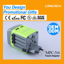 LongRich WorldWide mobile phone accessorie Universal travel adapter with USB