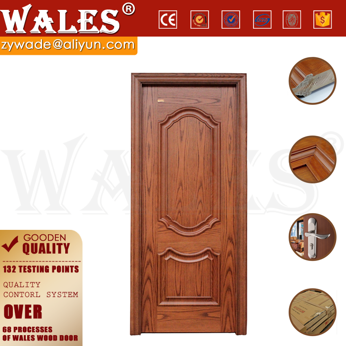 Strengthen door leaf design solid core wooden arched round top door