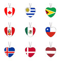 World Cup Country National Flag Heart Shape Pendant Necklace 2018