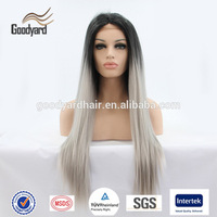 Extra Long Wig Two Tone Color Wavy Black Grey Full Wigs Synthetic Hair Ombre Heat