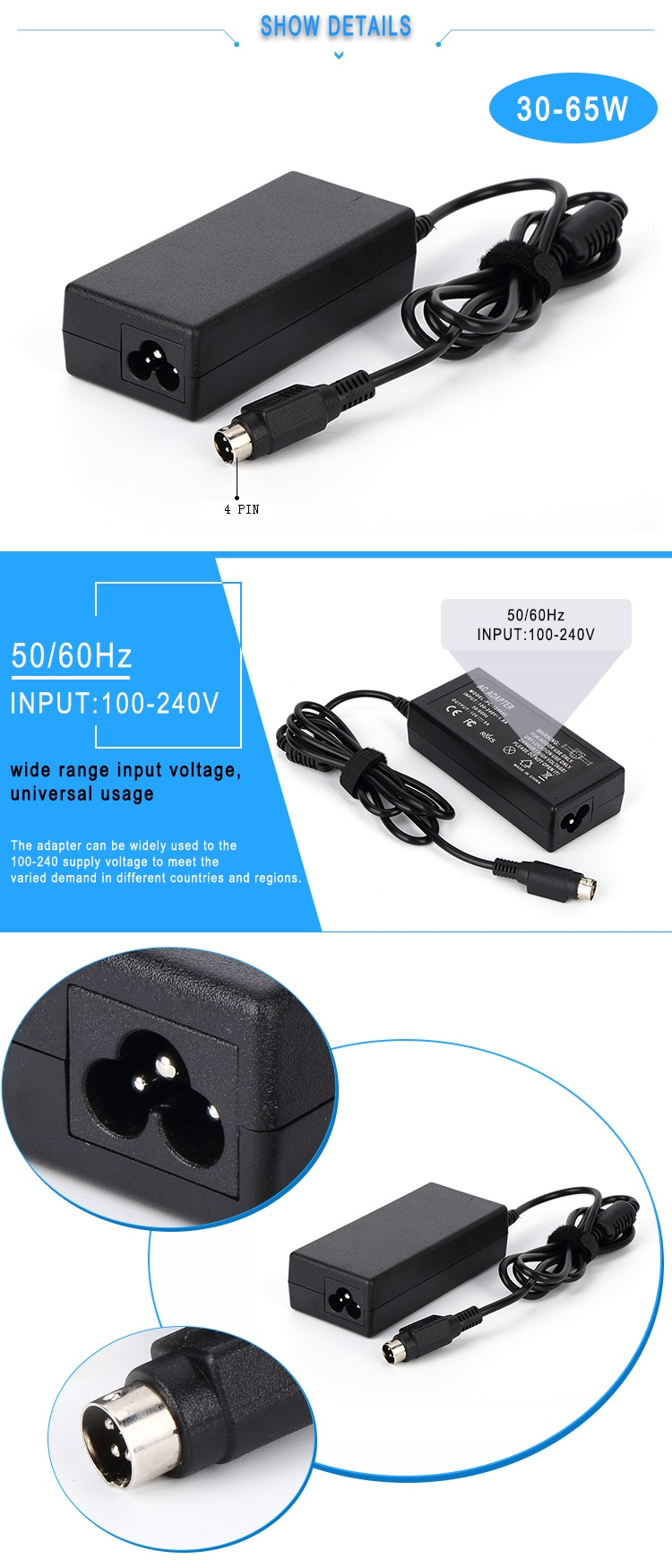 AC input 100-240V DC 16v 3.5a 56w laptop power adapter