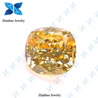 wholesale best quality cushion golden yellow lab created loose gemstones