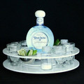 Round acrylic shot glass tray for serving