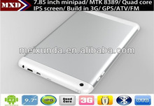 Small size computer 7.85 inch MTK8389 Quad Core 1.2GHz Tablet Pc IPS 1GB/8GB with 3G SIM Card Slot, GPS, ATV, BT, FM, HDMI