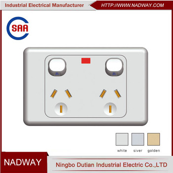 SAA 250V double power 2 gang switch and socket 10 amp power point