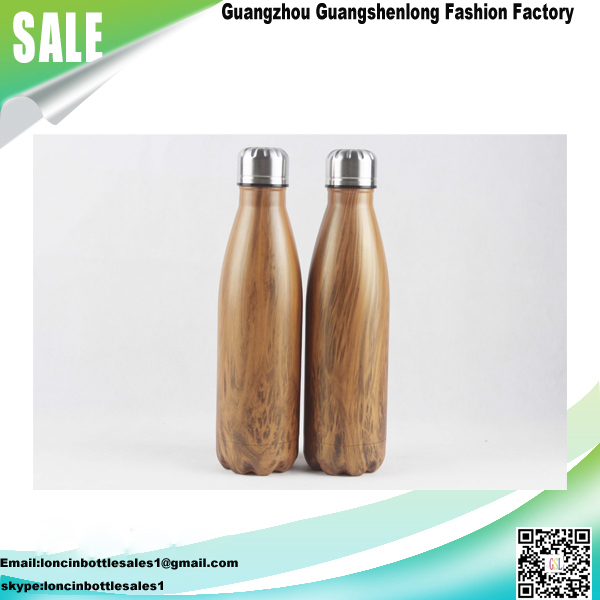 Insulated Cola Shaped Vacuum Stainless Steel Water Bottle, 500ml Wood Grain Water Bottle with Twist Off Cap, wood water bottle