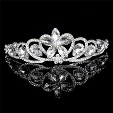 European Pageant Tiara with big rhinestone shining tiara ladies crown
