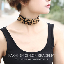2016 new model leopard print wide horsehair strip fashion designs for women new collares necklace chokers for women