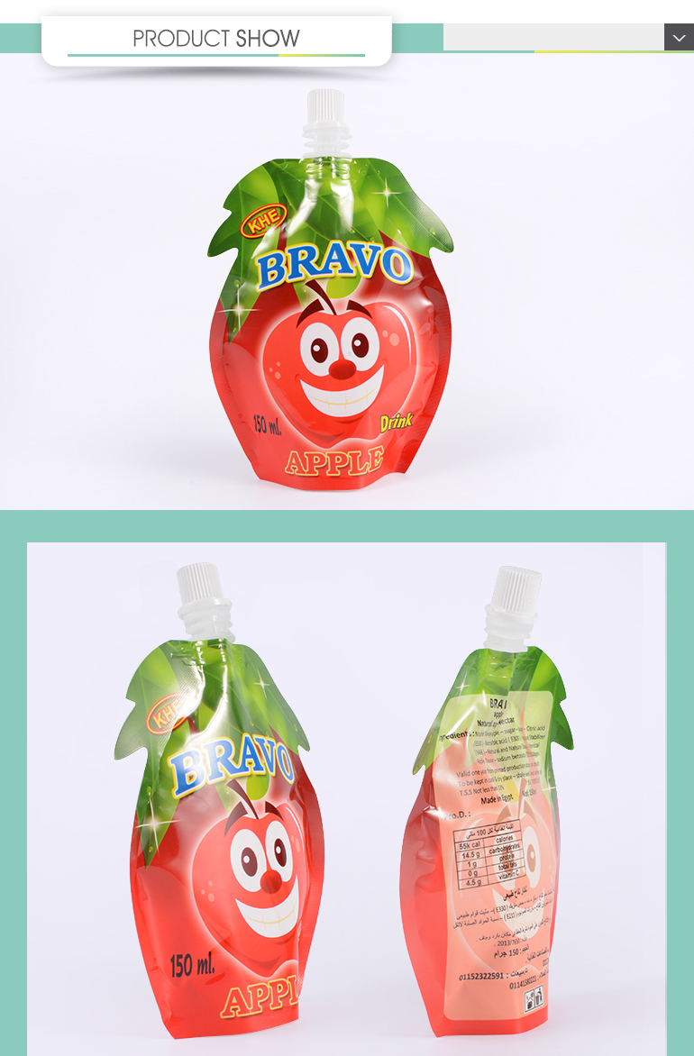 Stand Up Pouch Type Fruit Juice Packaging Plastic Drink Bag With Spout
