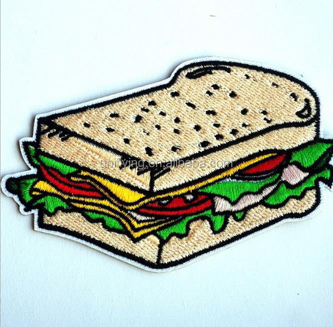 Funny Sandwich Food Motif Embroidery Patch Iron On Applique Custom Patches