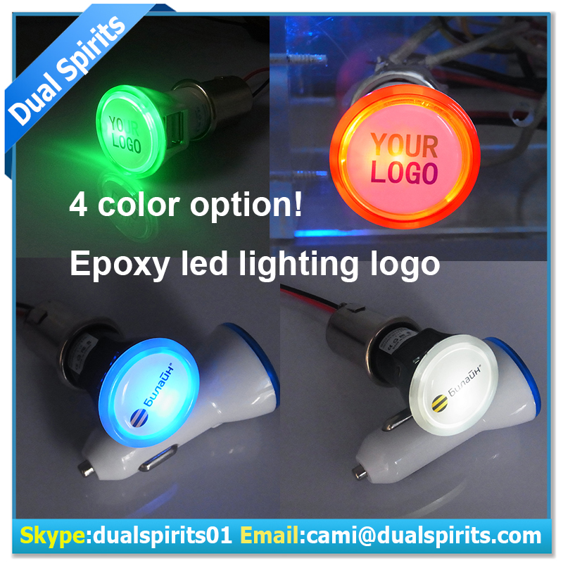 Round Led Light with Logo Custom 12v-24v 2.1a Output dual USB Car Charger for colorful custom usb car charger suppliers