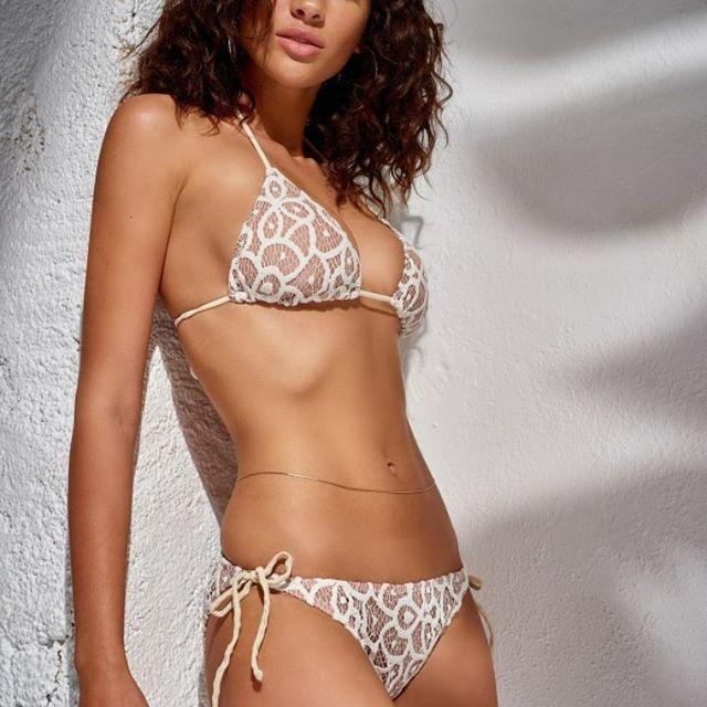 OEM Factory Beautiful Women Open Sexy Girls Full Photo Sex Transparent Swimwear Printed Sling Bikini 2018