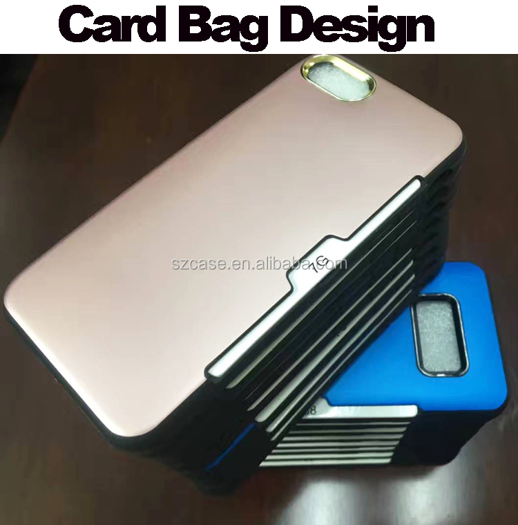 For iphone 7 case,card holder tpu pc phone case for iphone 7,hard wiredrawing 2 in 1 for iphone 7 case