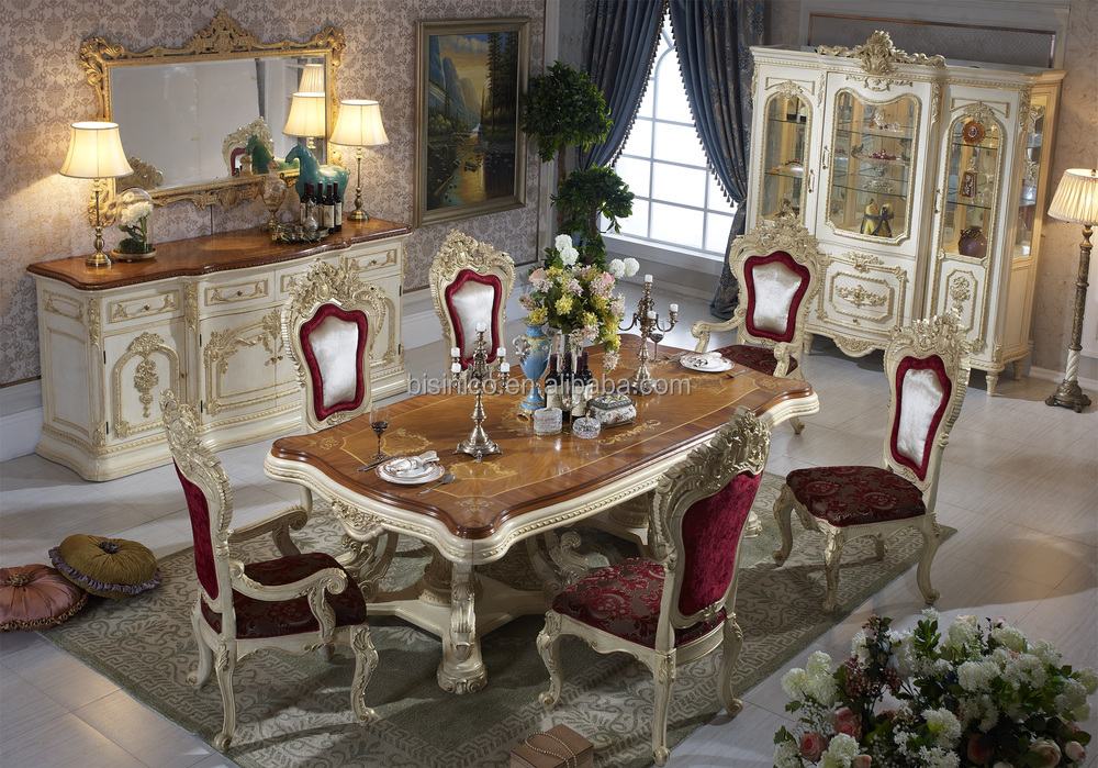 Bisini Luxury Italian Style Dining Table, French Royal Dining Room Furniture, Dining Table Set