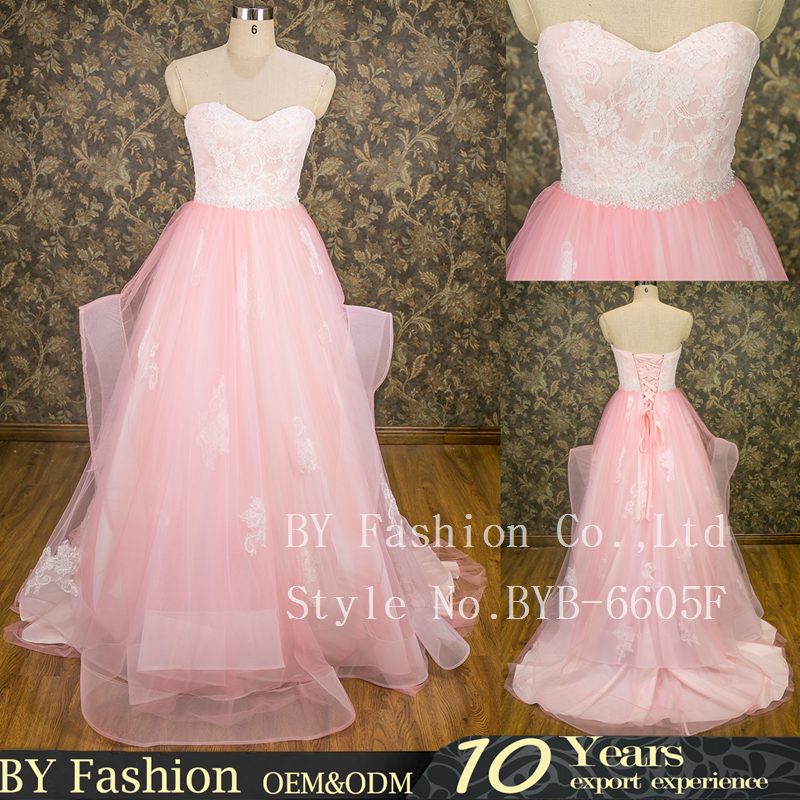Famous light pink applique lace real pictures of wedding dress patterns gown dress