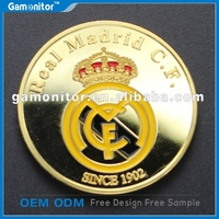 Customized European Cup Football Fans Souvenir Gift Collection Coins 24k Gold Plated Brazil Cristiano Ronaldo Coins