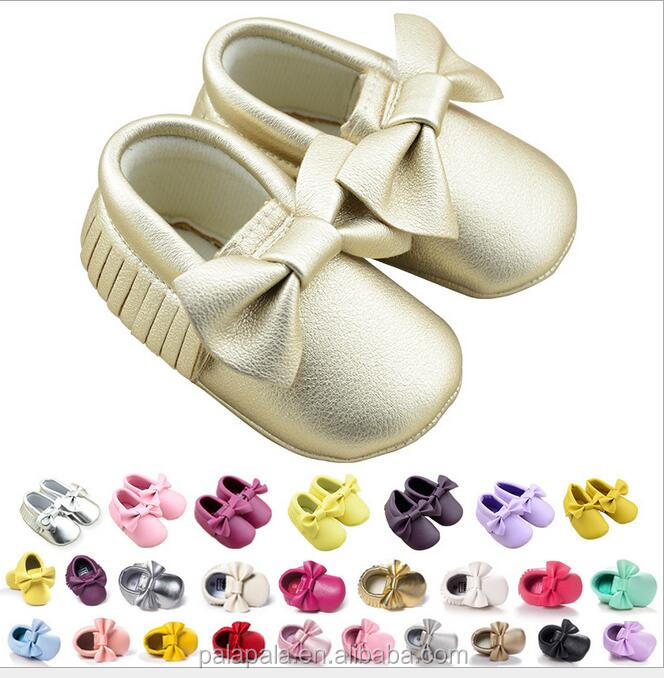 cheap soft baby shoes pu leather baby bow moccasins toddler girls dress shoes wholesale