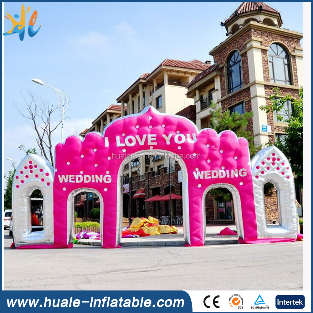 Beautiful pink and sweet inflatable arch for wedding