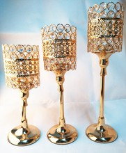 30/36/40cm High Luxury Gold Metal Base Crystal Candle Holder