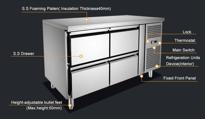 4 Drawer Stainless Steel Commercial Kitchen Chest Freezer