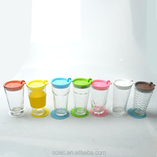 mini decorative clear glass water cups sets with colorful pp lid and cup mat 7pcs