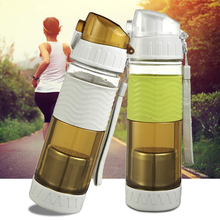 Portable Plastic water bottle Leakproof drinking water bottle with Stainless Steel infuser for promotion