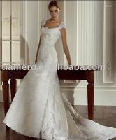 Cap-sleeve Lace Covered Long Tail High Quality Wedding Dress TH8591