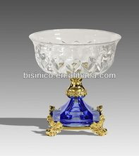 New Arrival Antique Style Crystal Fruit Bowl/Compote With Brass Base 24K Gold Plated Home Art Decorated Item Clear and Blue