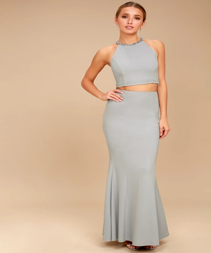 WOMEN CHEAP WHOLESALE SHINING EXAMPLE BLUE GREY RHINESTONE TWO-PIECE MAXI  DRESS 3f8d92422106