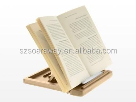 Folding Adjustable Book Stand for ipad bamboo Cookholder
