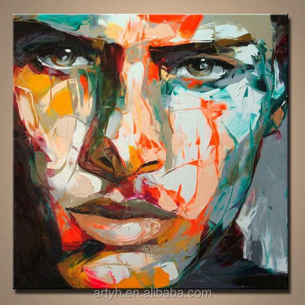 Popular modern abstract colorful face painting by knife