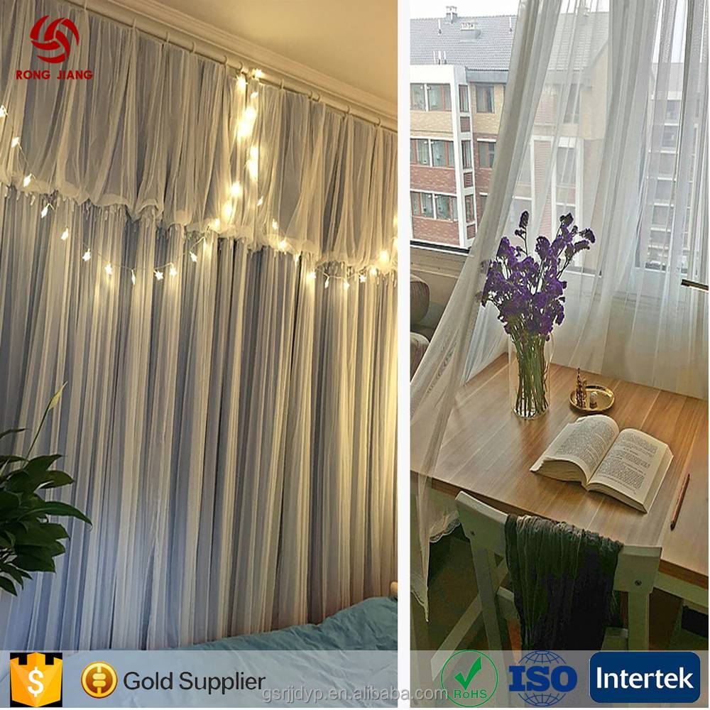 Luxury Fashion Polyester Joint Lace Solid Color Curtain for Home And Hotel With Lowest Price