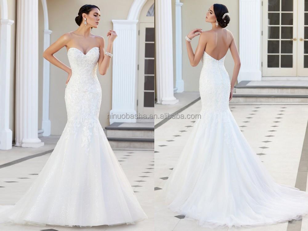 2015 custom fit mermaid wedding dress strapless sweetheart for Low cut back wedding dress
