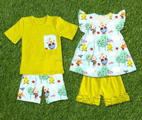 frocked baby clothes set baby new design seven dwarfs pattern brother&sister boutique ruffle clothing summer children outfits