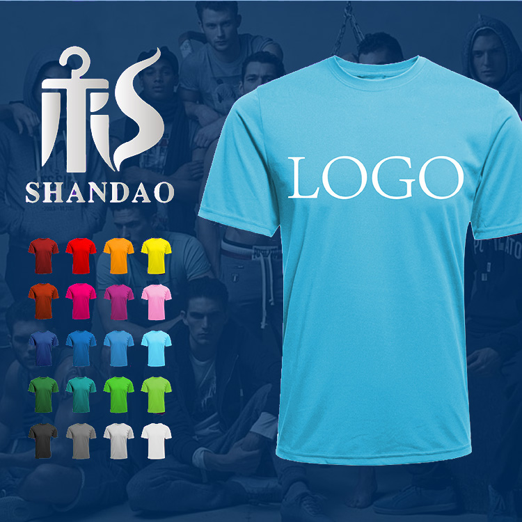 Guangzhou Shandao Summer Men New Arrival 160g 65% Cotton 35% Polyester Casual O Neck Short Sleeve Screen Printing T Shirt