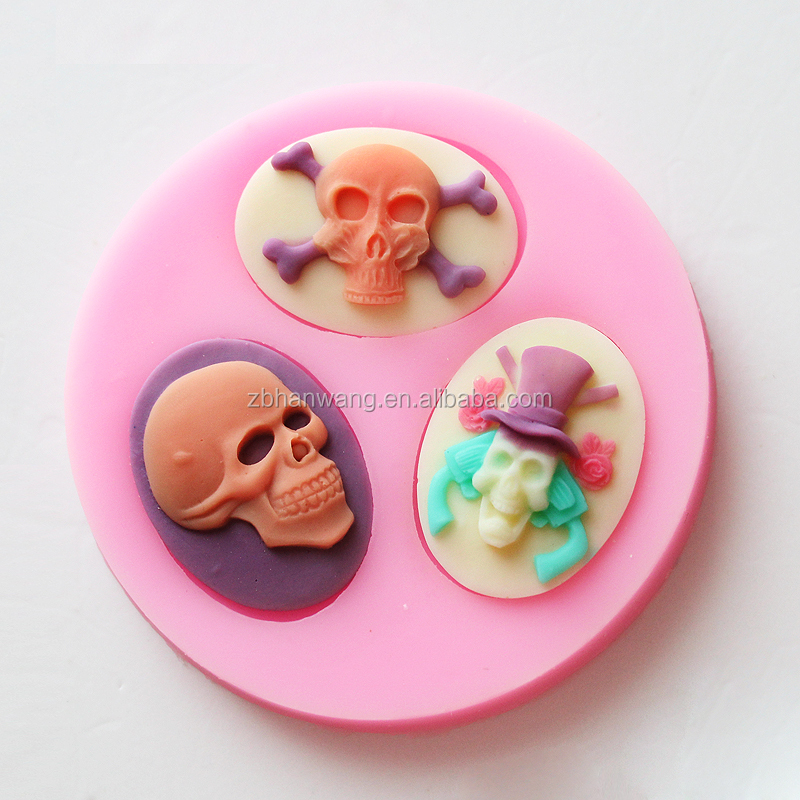 F0497 customized Halloween ghost skull shape FDA silicone craft/cake fondant decortion mold