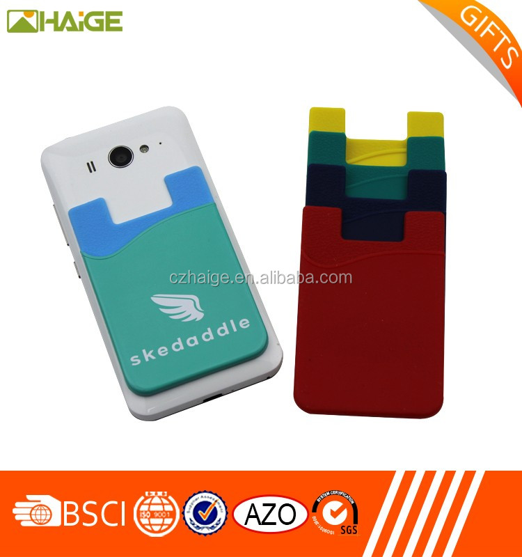 Promotional customize handy cell phone ID holder silicone wallet holder