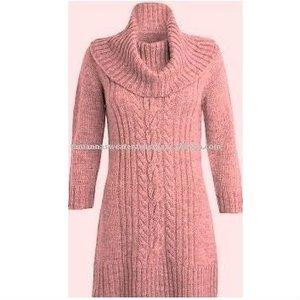 Women Wool Cowl Neck Knitted Long Pullover Sweater