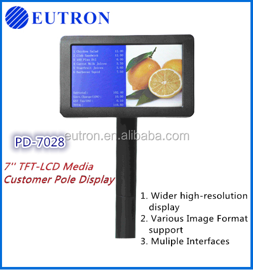 Alphanumeric POS LCD Pole Customer Display for Store Restaurant