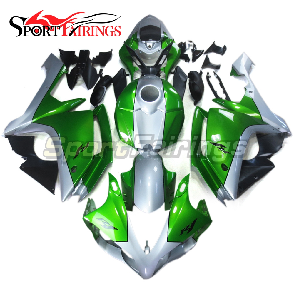 Complete <strong>Fairings</strong> For Yamaha YZF <strong>R1</strong> 2007-2008 07 <strong>08</strong> ABS Plastic Injection Green Silver Motorcycle Body Kit Covers