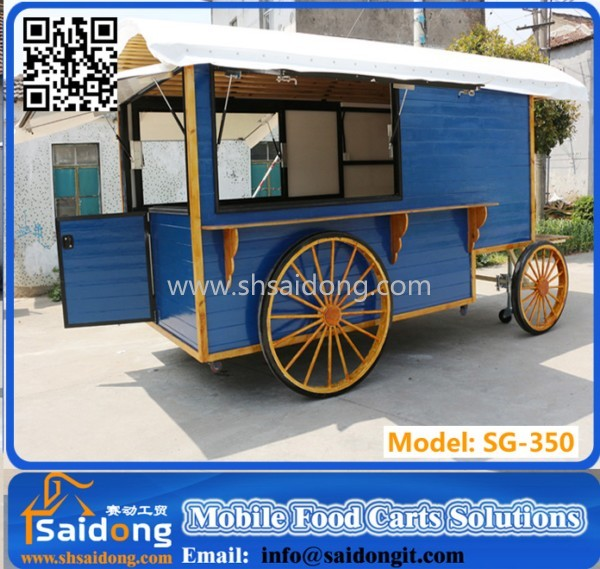 Multifunctional Mobile Fast Food Trailer Catering Truck-Mobile Wooden Cart