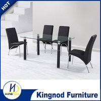 Legs wtih covered PVC dining table and tempered glass dining table