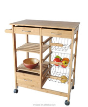 Eco friendly Bamboo kitchen trolley with drawer basket 4 wheels