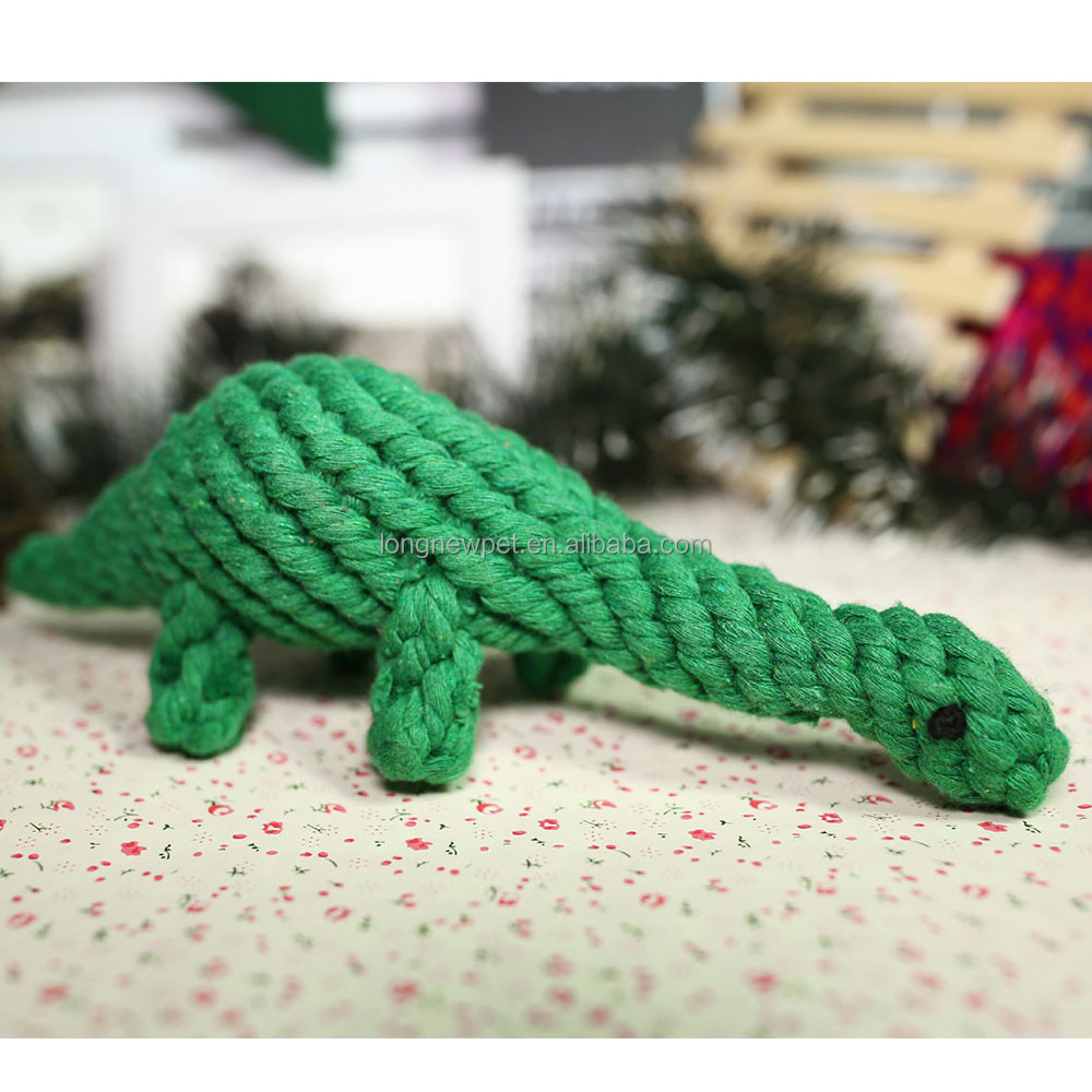 Clearance Pet Toy Cotton Rope Animal Green Dinosaur Dog Chew Toy