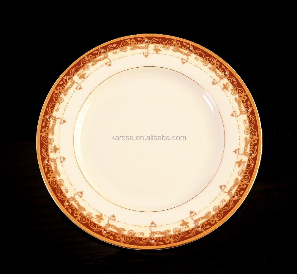 Classical style embossed gold ring dishes & plates