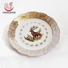 Eco-Friendly 7 inch elk pattern decorative durable flat plate personalized China cheap ceramic plates