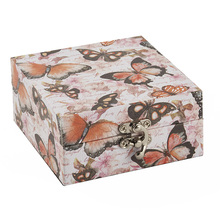 Wooden expensive butterfly pattern child toy retro jewelry boxes