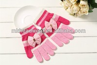 pink acrylic magic knit stretch gloves